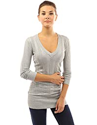 PattyBoutik Women\'s V Neck Ribbed Tunic Knit Top (Heather Gray S)