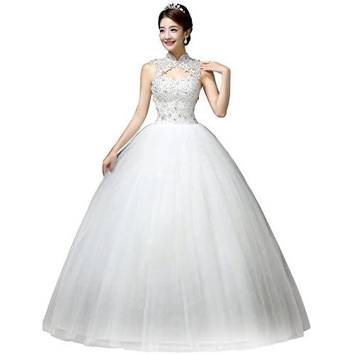 Clover Bridal Vintage High Collar Pearl Wedding Dress for Bride White Under 100