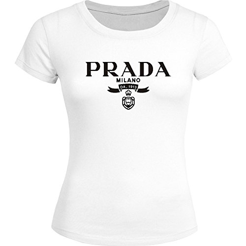 Prada Classic Logo Printed For Ladies Womens T-shirt Tee Outlet
