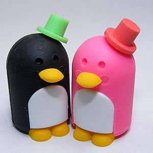 Authentic Iwako TRC Japanese Mr. & Mrs. Penguins Eraser Set of 2 (Pink and Black Tuxedo Penguin) - Popular Wedding Party Favors. Everybody's Favorite!