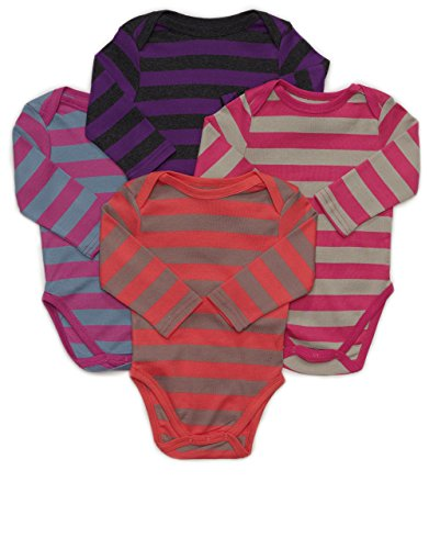 Leveret Long Sleeve 4-pack Striped Baby Girls Bodysuit 100% Cotton (Size 0-24 M) (6-12 Months, Multi 2)