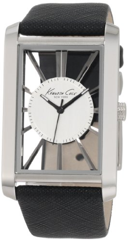 Kenneth Cole Men's Quartz Watch with Silver Dial Analogue Display and Black Leather Strap KC1755