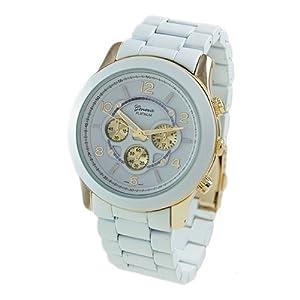 Geneva Platinum 9158 Women's Decorative Chronograph-style Matte Finish Link Watch -WHT/GLD
