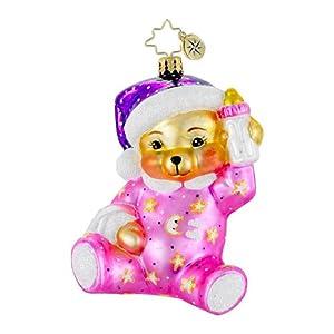 RADKO SWEET DREAMS PINK Teddy Bear Christmas Glass Ornament