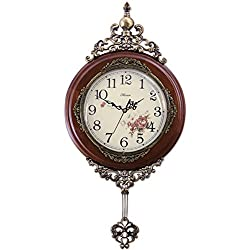 HENSE 13-inch Antique Retro Decorative Wood Clocks Ultra Mute Silent Quartz Movement Wooden Wall Clock with Swinging Pendulum HP06 (Brown)