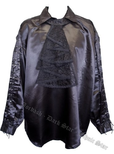 Dark Star Lace Jabot/Tie DS/JT/7420 & Lace-up Satin Shirt DS/SH/210S (Black, One size/Chest 148cm)