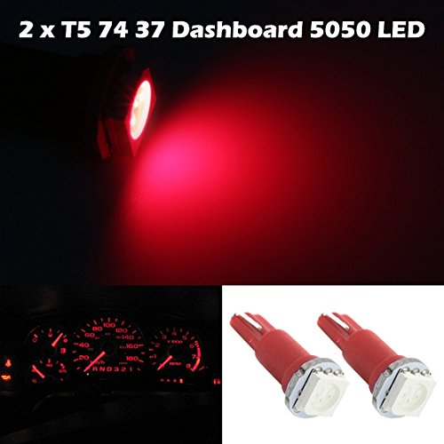 Partsam 2X T5 1 Smd Red Instrument Dashboard Wedge 1 Led Car Light Bulb Lamp 57 37 73 For 1990-2012 Honda Accord
