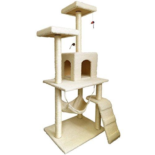キャットタワー 150cm ハンモック付 据え置き ベージュ
