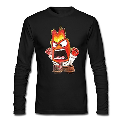 [Men's Pixar Inside Out Anger Tshirts Long Sleeve Black] (Calvin And Hobbes Couple Costume)