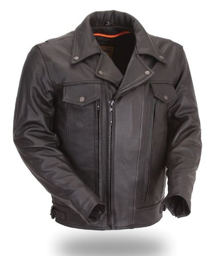 House of Harley-Davidson? First Classics? Men's Utility Cruising Leather Jacket. Full Featured. Available in Medium thru 8-XL. FIM244BNKDZ