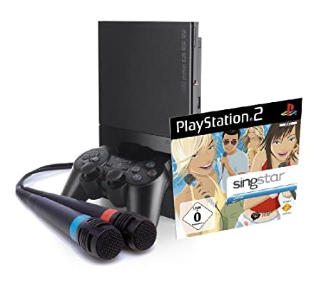 PlayStation 2 Konsole Slim Black + SingStar Demo Disc inkl. Mics [Importación alemana]