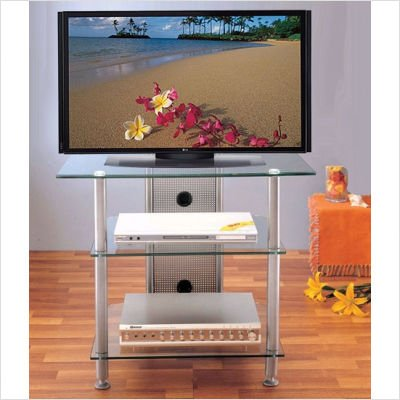 Cheap Silver VTI AGR Series 30 Inch Plasma,LCD Metal and Tempered Glass TV Stand (AGR30S)
