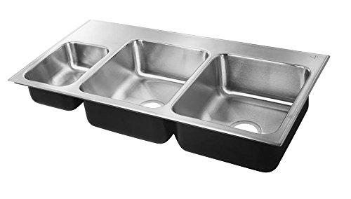 Just TEQ2243BL3-1 20 Gauge Drop In Triple Bowl Left Stainless Steel Sink