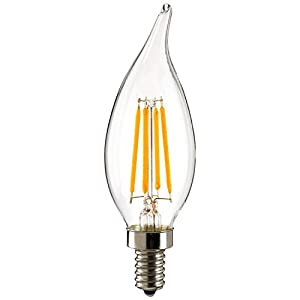 QUNQI LED Filament Bulb, Candle Lights Antique Torpedo Tip Style Chandelier & Antique Flame Tip Style Chandelier 2700K 120V 4 Watt E12 40W Equivalent Warm White