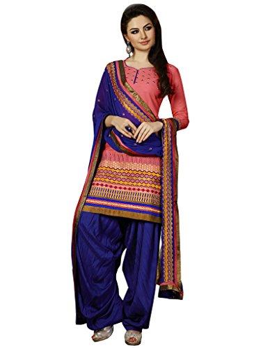 Kvsfab Womens Cotton Zari Patiala Unstitched Dress Material (2753Jodha-2 _Pink)