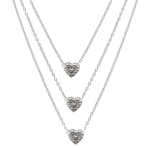 Sterling Silver Triple-Strand Cubic Zirconia Heart Necklace, 16