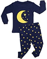 "Leveret ""Moon & Stars"" 2 Piece Pajama 100% Cotton (Size 6M-7-8 Years)"