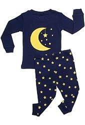 "Leveret ""Moon & Stars"" 2 Piece Pajama 100% Cotton (Size 6M-7-8 Years)"