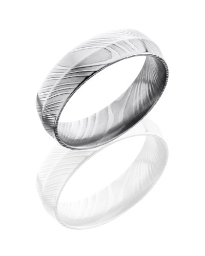 Stainless Steel, Textured Polished Damascus Steel Wedding Band (sz 5)