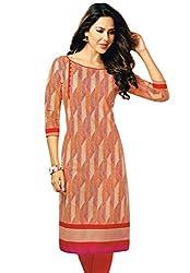Salwar Studio Women's Beige & Red Cotton Self Printed Kurti Fabric