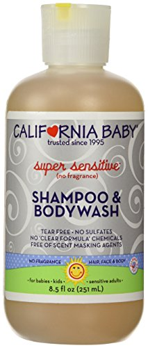 California Baby Super Sensitive Shampoo and Body Wash, No Fragrance, 8.5 Ounce Bottle