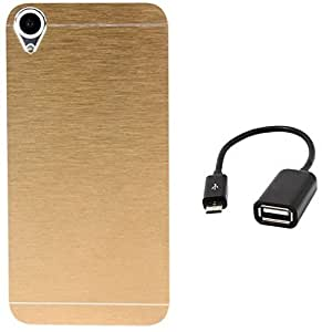 Tidel Golden Durable Aluminium Brushed Metallic Back Cover For HTC Desire 820  With Micro OTG Cable