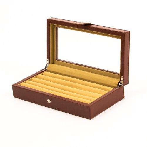 Leather Cufflinks Box / Case in Brown 20 pair