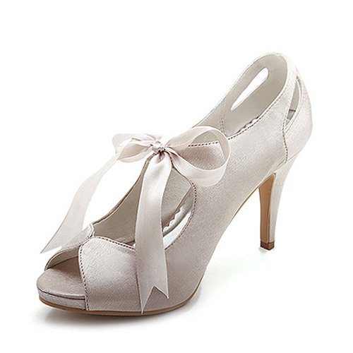 Women's Satin Upper High Heel Pumps Peep-toes With Sash Wedding Bridal Shoes (Size: 9 B(M) US/Champagne)
