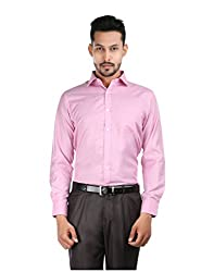 Oxemberg Men's Solid Formal Cotton Poly Purple Shirt