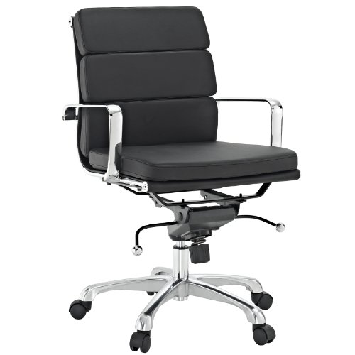 LexMod Discovery Mid Back Conference Office Chair in Black Vinyl