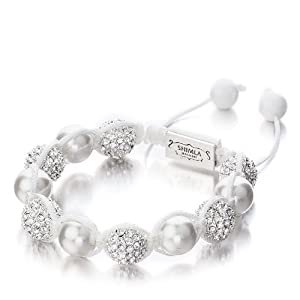 Shimla Crystal Bead Bracelet - Small, Silver Plated White Cubic Zirconia Crystal Bead with Pearl & White Agate Beads of Diameter 5cm - 9cm