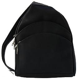 Piel Leather Three Pocket Sling Bag in Black