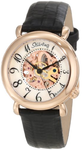 Stuhrling Original Women's 108.12457 Classic Metropolis Wall Street Automatic Skeleton Rose Tone Watch