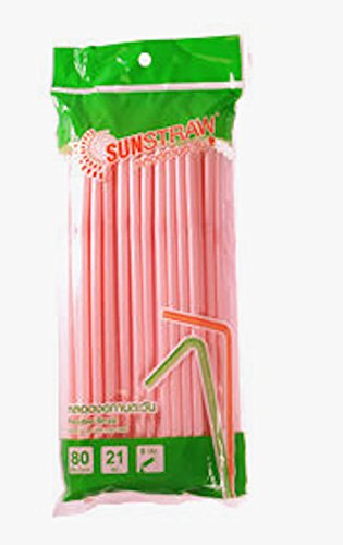 Sun straw Flexible Straw Sweet Pink Color 80 ct/ pack (Pack of 4),Great for Summer Time Drinks Colorful and Fun (Send you happiness) (Bronze Straw Dispenser compare prices)