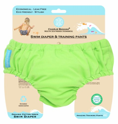 Charlie Banana 889242 Small 2 in 1 Swim Diaper and Training Pants - Shanghai Green - 1