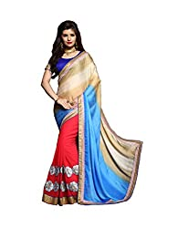coolwomen women's georgette embroidered free size fancy saree-cw_NMRSA05_red_free size