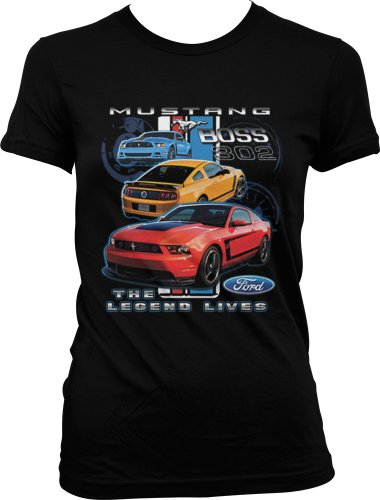 Mustang Boss 302, The Legend Lives Ladies Junior Fit T-Shirt (Black, S)