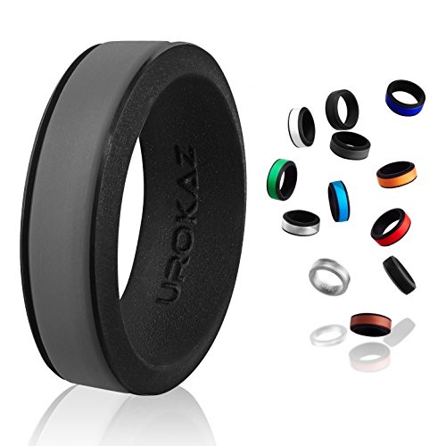 UROKAZ   Silicone Wedding RingGrey   BlackSize 7  Inner Diameter ~ 17.32 mm