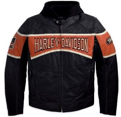 Harley-Davidson® Men's Motor 3-in-1 Leather Jacket. Midweight. Embroidered. Removable hoodie with graphics. 98018-10VM Large Tall