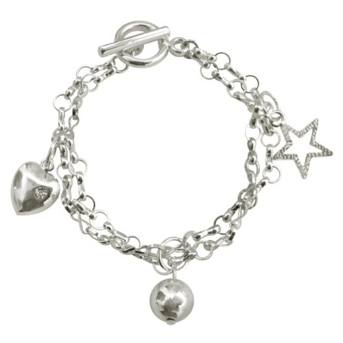 A Gift From The Gods Womens Heart, Ball And Star Double Chain Charm Bracelet Jewelry