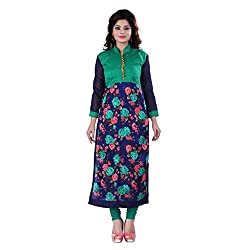 Fashion Galleria green rose printed cotton kurti