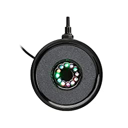 GBGS LED Air Stone Air Bubble Disk with 12 RGB Light for Fish Tank Aquarium