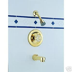 Delta 642 pb polished brass tub shower faucet bathtub and showerhead faucet systems for Delta bathroom shower systems