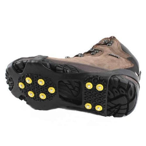 Estone New Snow Ice Climbing Anti Slip Spikes Grips Crampon Cleats 10-Stud Shoes Cover (L)
