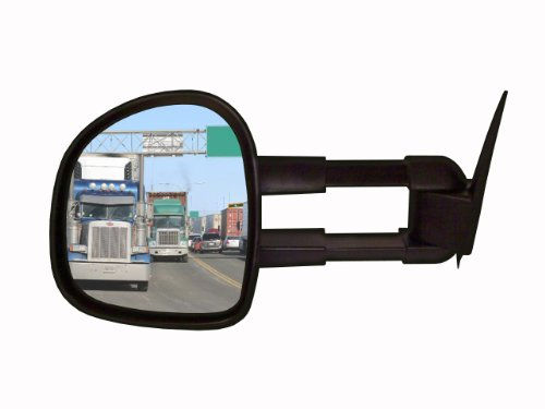 Cipa 70011 Extendable Replacement Electric Towing Mirror (Black) Fits Gmc/Chevy Full Size Pickups 1988-2000 - Left Hand Side