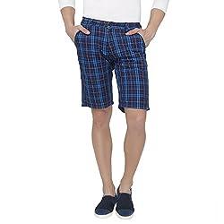 Origin Blue Cotton Checkered Capris for Men