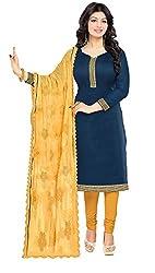 Fabgruh Presents Chanderi Dress Material(Dark Blue)