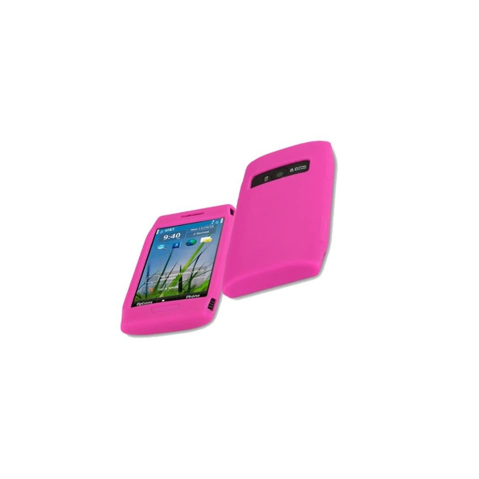 Mobile Palace  Pink silicone skin case cover pouch holster with screen protector for Nokia X7