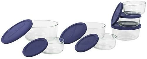 Pyrex Storage 14-Piece Round Set, Clear with Blue Lids