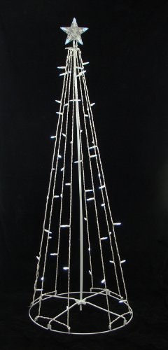 5' Cool White LED Lighted Outdoor Show Cone Christmas